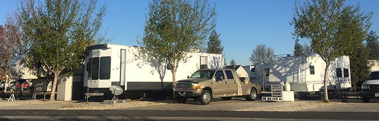Review of A Country RV Park, Bakersfield, California. There are many large rigs in the large sites at A Country RV Park, Bakersfield, California