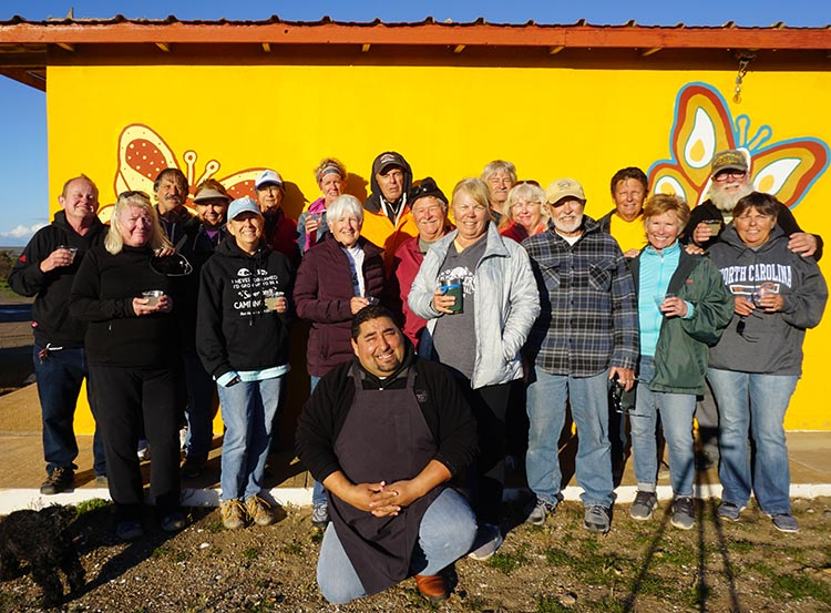 Our Return RV Caravan Trip from Baja California: Santispac Beach to Tecate. Here are the whole lot of us at El Pabellon, with Jose posed in front