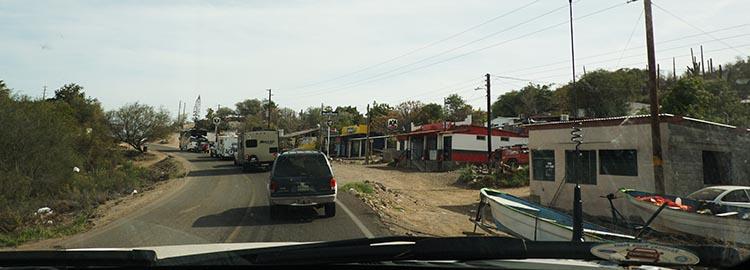 Day 5 of our RV Trip with Baja Winters: San Ignacio to Santispac Beach, Bahía de Concepción, Baja California Sur, Mexico. Here is part of the truly horrible highway that runs through Santa Rosalia