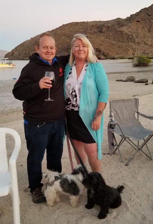 Here's Maggie and I enjoying a drink on the beach at Jerry's house in Posada Concepcion. Photo by Myrna Spaulding