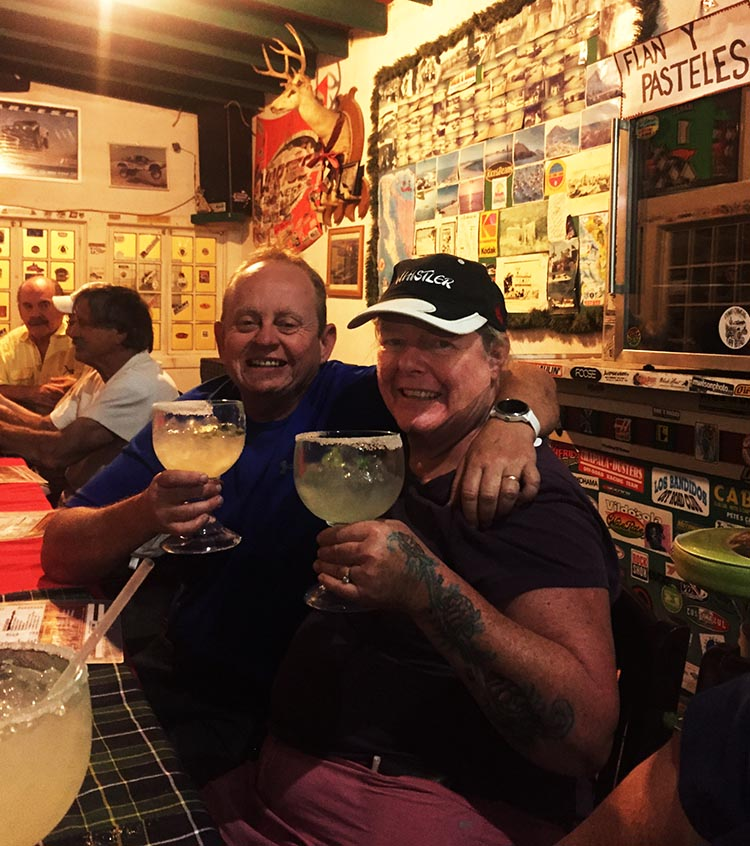 Maggie and I enjoying dinner in the Rice and Beans Restaurant, at the Rice and Beans RV Park, Baja California Sur