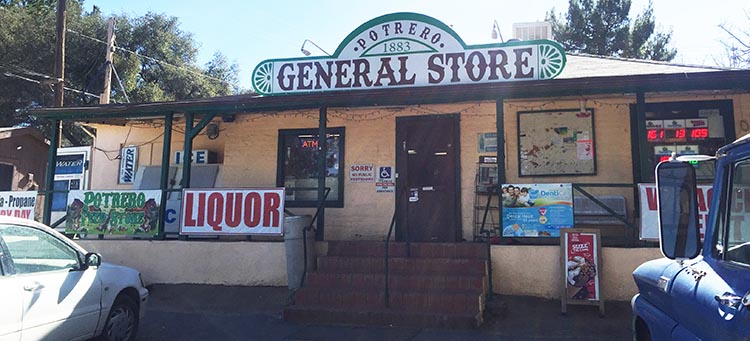 RV Baja California. Potrero General Store on the 94, half a mile from the turn-off to Potrero