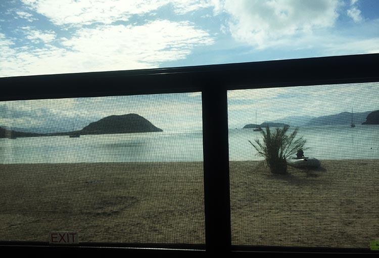Day 5 of our RV Trip with Baja Winters: San Ignacio to Santispac Beach, Bahía de Concepción, Baja California Sur, Mexico. This is the view from our window on Santispac Beach
