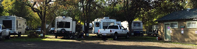 Review of Merced River RV Resort, Delhi, California. That's our Denali fifth wheel in the middle, and the washrooms to the far right, in the Merced River RV Resort
