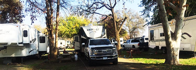RV Camping in California. Our truck and rig parked at the Merced River RV Resort