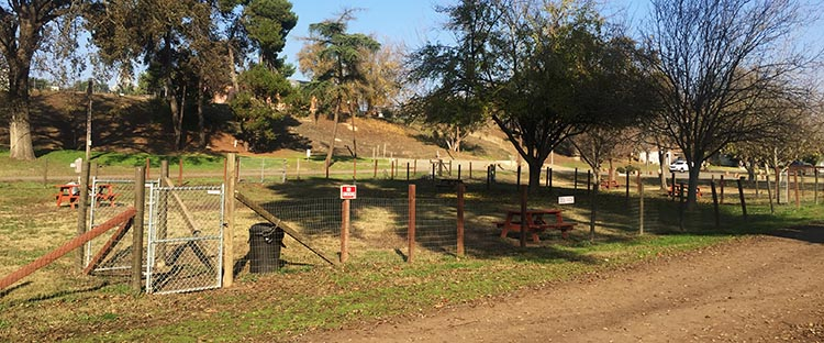 RV Camping in California. At the Merced River RV Resort, there is a large, fenced dog park where you can let your dog run off-leash