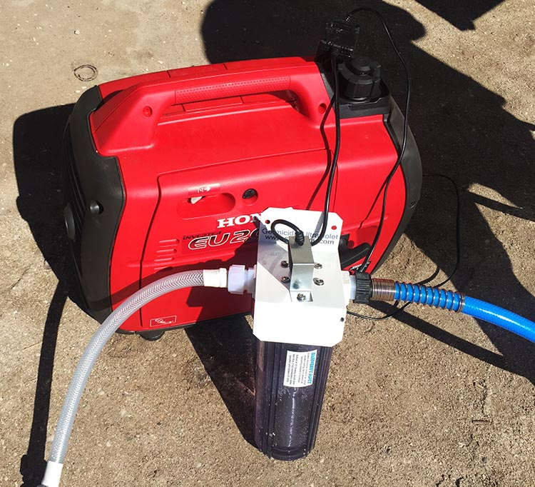 We used our ultra-violet water filter, powered by our generator, to filter the water going into our RV