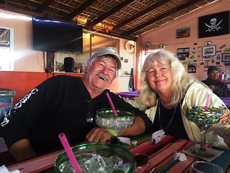 Day 5 of our RV Trip with Baja Winters: San Ignacio to Santispac Beach, Bahía de Concepción, Baja California Sur, Mexico. Tailgunner Jerry and Kathy at Armando's Restaurant on Santispac Beach