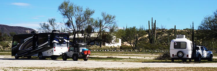 Some more of the group's rigs parked at Rancho Santa Inez in Catavina - Joe and Kathy's on the left, and Ken and Allison's on the right