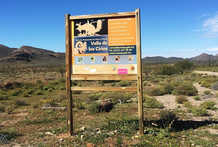 A sign post at Rancho Santa Inez Campground in Catavina
