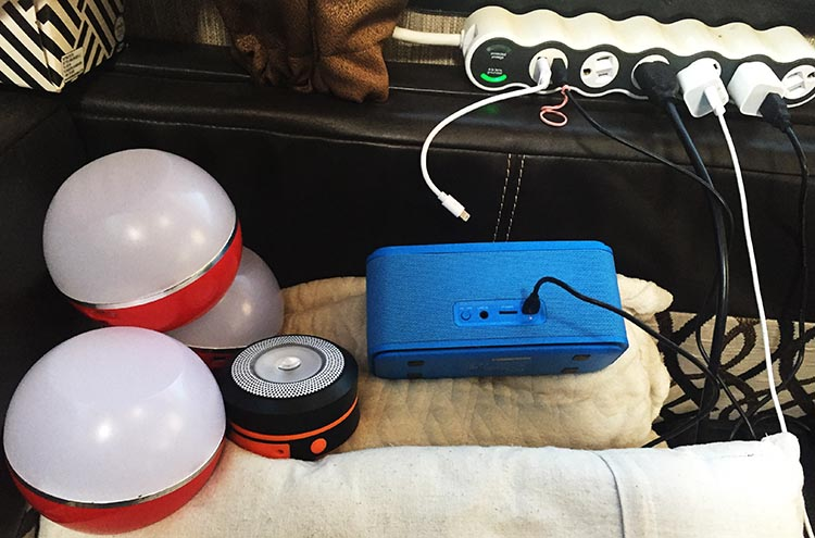 Simple RV Upgrades: Budget DOSS Soundbox Bluetooth Speaker. Here's our DOSS Soundbox speaker at our charging station in our RV