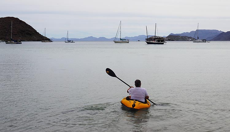 This is our friend Jim trying out our Advanced Elements Kayak at Santispac Beach. He tried both, and ended up deciding to buy the Advanced Elements