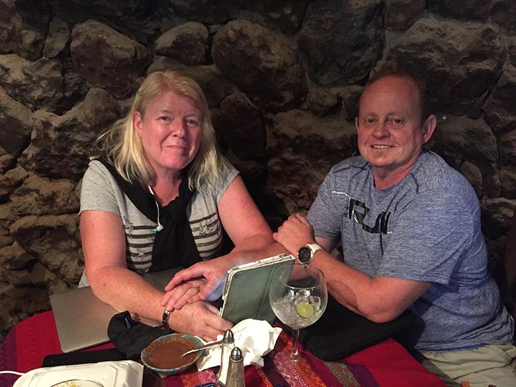 Here are Maggie and I enjoying an excellent lunch at Las Casitas Restaurant in Mulege