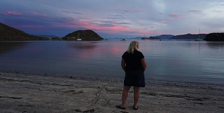 Here's Maggie admiring the sunset on Santispac Beach, Baja California Sur