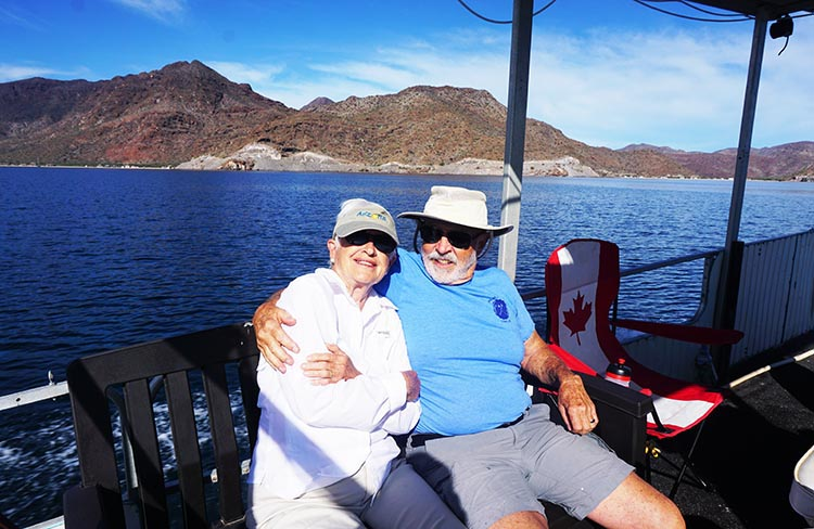 Here's Myrna and Richard on Jerry's boat on the water in Bahia Concepcion, near Santispac Beach