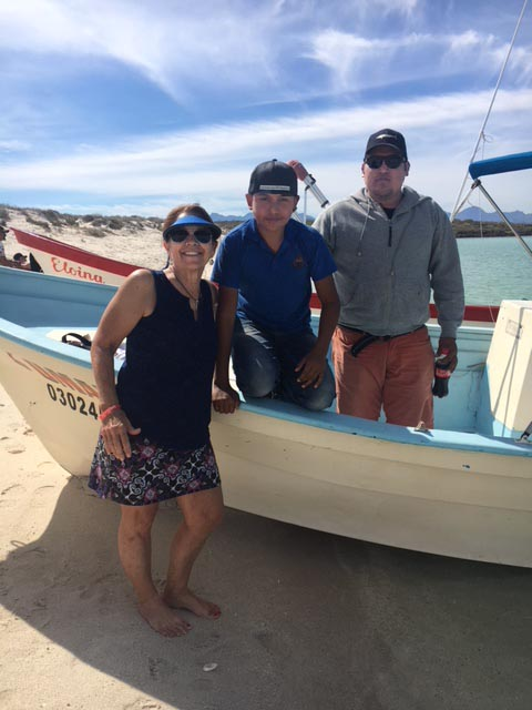 Nancy with Omar's boat crew in Loreto - Photo by Nancy Bacciarini