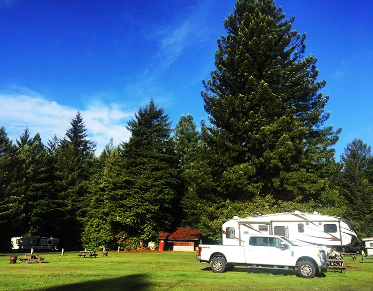 Review of Mystic Forest RV Park, near Klamath, California. Our rig in a large grassy pull-through site in the middle of Mystic River RV Park. That's the centrally-located washroom behind us, to the left of our truck