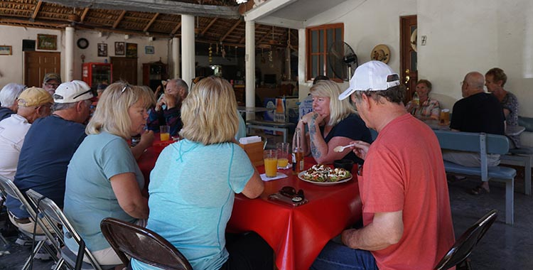 Our group having lunch at the La Palapa Restaurant in San Javier, Baja California Sur