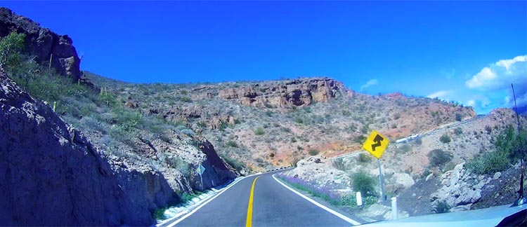 Our Return RV Caravan Trip from Baja California: Santispac Beach to Tecate. Going up the Cuesta del Infierno behind Jerry and Kathy
