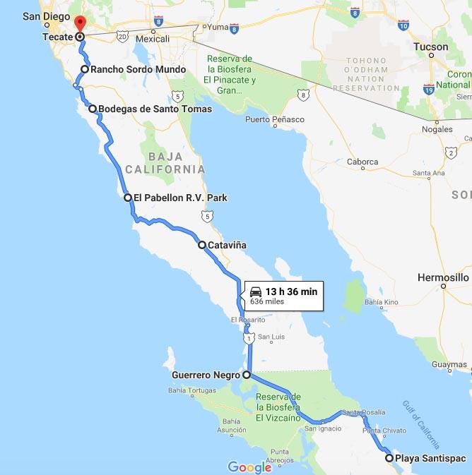 Our Return RV Caravan Trip from Baja California: Santispac Beach to Tecate. Our route from Santispac Beach to Tecate, Baja California, Mexico
