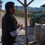 Our tour guide presenting wines during the tractor tour