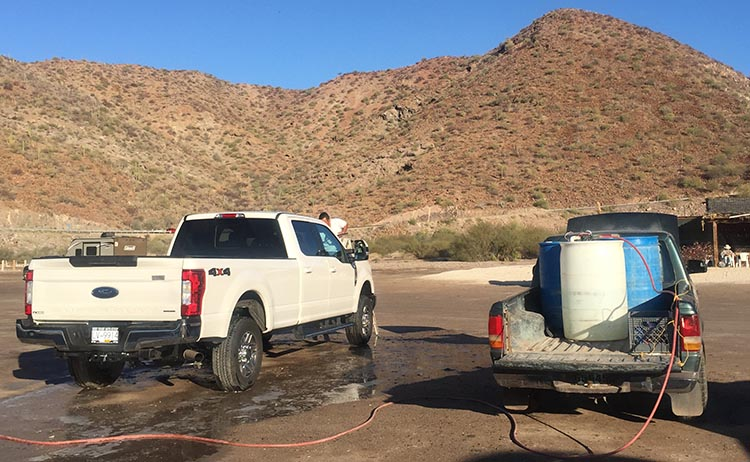 Here is one of the guys washing our truck
