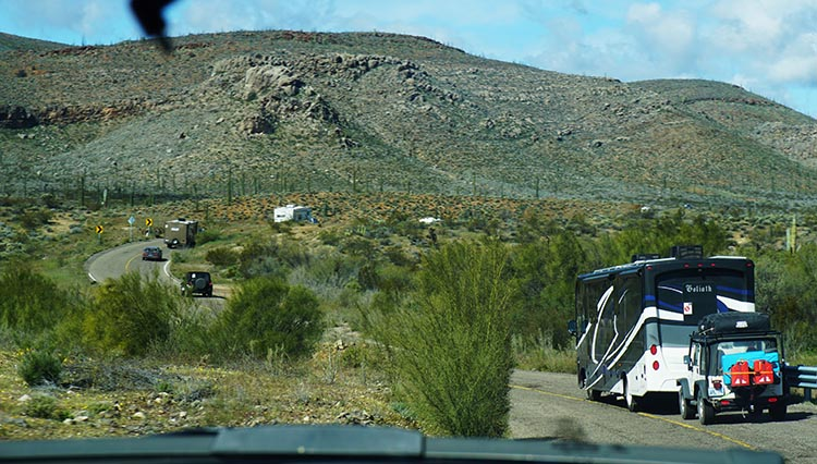 Our Return RV Caravan Trip from Baja California: Santispac Beach to Tecate. More mountains, of course!