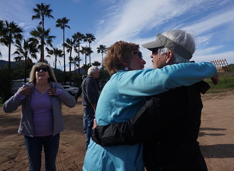Becky and Myrna having a farewell hug