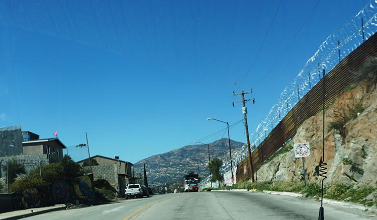 Notice the barbed wire on the right. A subtle clue that you have reached the border!