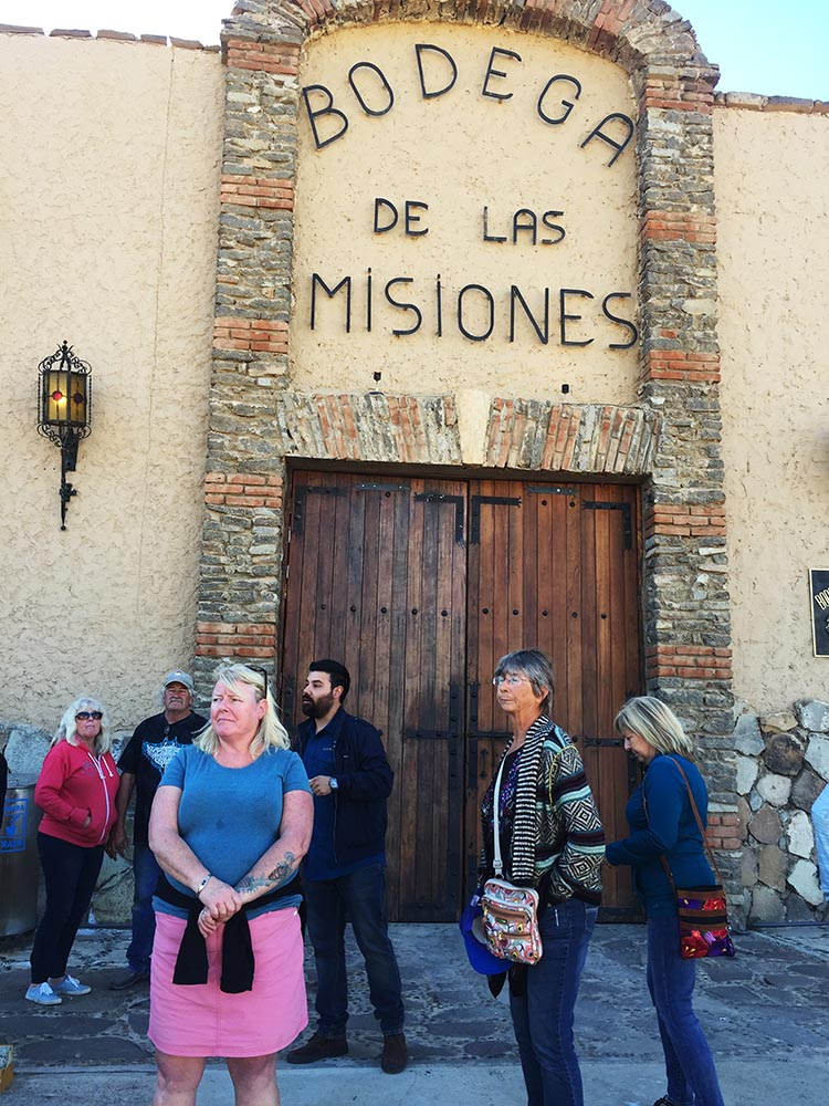 Here we are waiting to start our wine tour at Santo Tomas