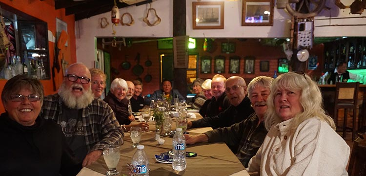 Our group at dinner at the seafood restaurant in the Malarrimo RV Park at Guerrera Negro
