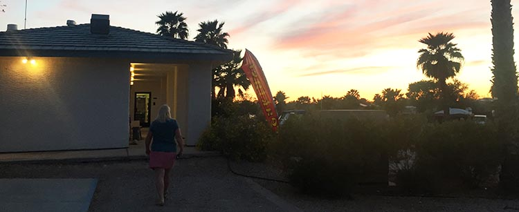 Here I am walking into the clubhouse at Arizona Oasis RV resort at sunset