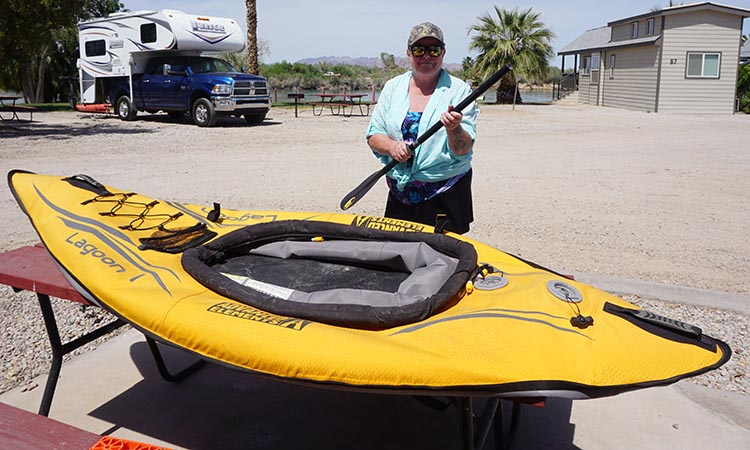 Here I am disassembling the paddle of our Advanced Elements Lagoon Kayak at at Arizona Oasis Resort