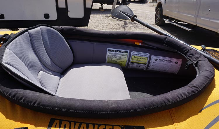 Here is a closeup of the cockpit of the Advanced Elements Lagoon Kayak