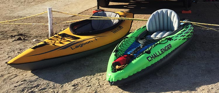 That's the Advanced Elements Inflatable Lagoon Kayak on the left and the Intex Challenger K1 Inflatable Kayak on the right