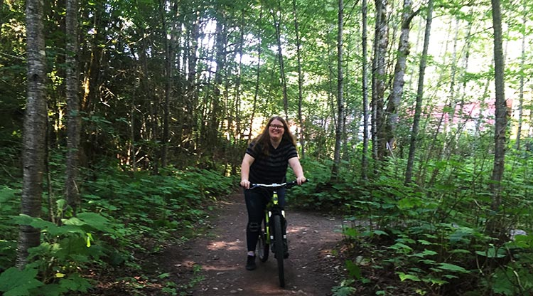 Celena enjoyed biking the beautiful trails in the park