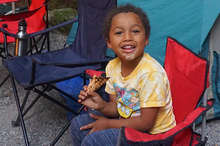 I think Hunter's favorite part of camping was the s'mores! You can buy s'mores kits in the campground shop. Maggie helped to make those!