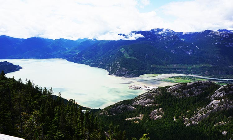 A view of Howe Sound, as seen from the summit of the Sea to Sky gondola ride