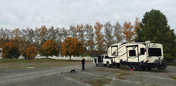 Here is our rig parked in the overflow parking at Langdon Farms Golf Course. It is super easy to park. You will find it just on your left as you enter the Golf Course. We have been there in fall and spring, and it is always quiet and peaceful