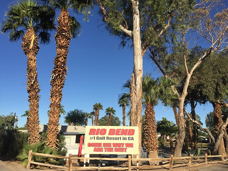 This is the entrance to the Rio Bend RV and Golf Resort in El Centro, California