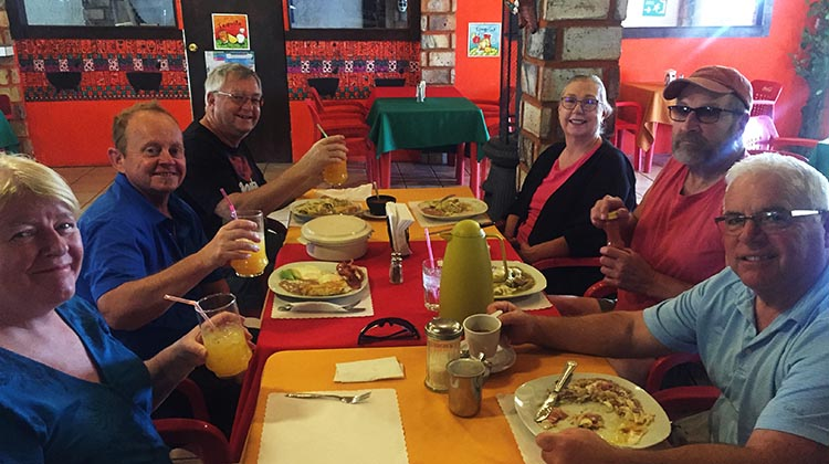 Towing Our RV from California to El Dorado Ranch, Mexico - Crossing the Mexicali East Border. Here we are enjoying breakfast at Cafe Allegre, which is also very close to the ranch. With us are (from left): Maggie, me, Ron, Peggy, RIck, and John the ace professional driver!