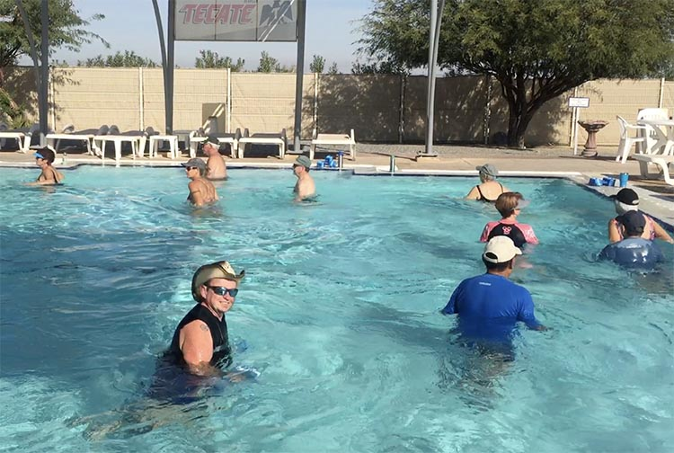 Here's me grinning at the Aquafit class, which we do every weekday morning. This is the smaller pool, devoted to Aquafit, Water Volleyball, and Mermaid Class (!)