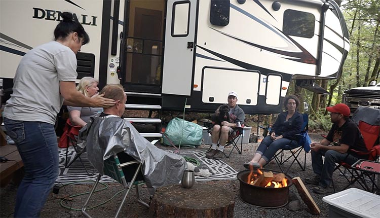 How to Become a Workamper – a Complete Guide to Work Camping. The best thing about work camping was the friends we made. Here we are with Rob and Chantal, and Keri and Trent. And Keri turned out to be a professional hairdresser, so Joe got his hair cut next to the fire!
