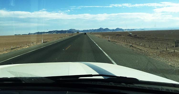 Towing Our RV from California to El Dorado Ranch, Mexico - Crossing the Mexicali East Border. Most of the way, Highway 5 to San Felipe, Baja California, Mexico, is just flat, with nothing much to see except desert. The mountains in the distance are beautiful. Fortunately, you will not have to cross any of them!
