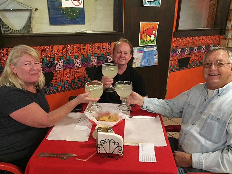 Here we are with Ron enjoying two-for-one-Margarita Wednesday at Rancho Allegre. Our memories of the rest of that evening are blurry, to say the least!