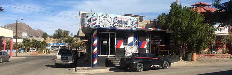 Jesse's, one of the barber shops in San Felipe. Joe got a very good haircut here for $5. The barber speaks some English