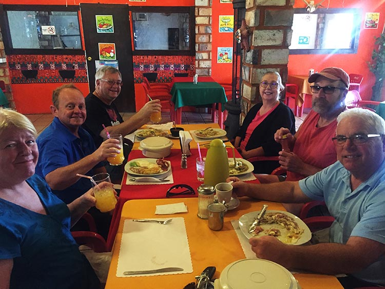 Here we are enjoying the awesome Sunday brunch at Rancho Allegre, with friends