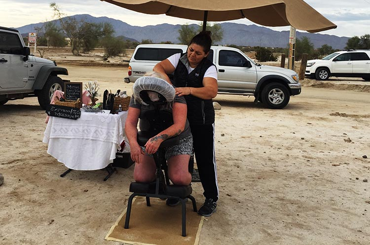 Here I am getting my massage at the Saturday Morning Swap Meet on El Dorado Ranch
