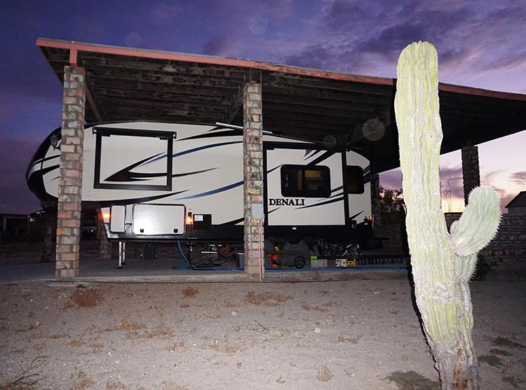 Here is our Denali in our site at El Dorado Ranch at night