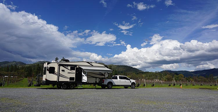 How to Get Free RV Camping with Harvest Hosts. At LongSword Vineyard, our RV parked right next to the vineyards
